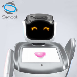 Picture of a Sanbot Social Robot waving.